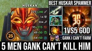 Best Huskar Spammer Even 1Vs5 Can't Kill Him | WTF Toying Enemy Midlaner & Ganker 21Kills - DotA 2