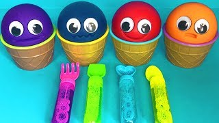 4 Colors Play Doh Ice Cream Cups Lady Bug Super Wings Surprise Toys Cars Kinder Joy Egg