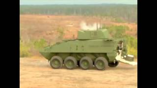 Kongsberg 30mm cannon Protector Medium Caliber Remote Weapon Station US Stryker 8x8 armoured vehicle