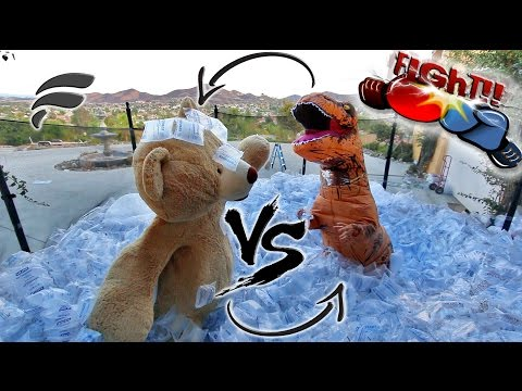 TRAMPOLINE FIGHT GIANT TEDDY BEAR vs TREX (SO FUNNY!)
