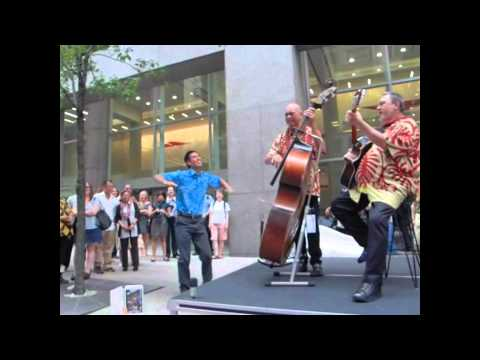 Brothers Cazimero Surprise Hula by Flight Attendent of Hawaiian Airlines in New York