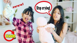 24 Hours BABYSITTING  a BABY Challenge! BAD IDEA! | TwoSistersToyStyle