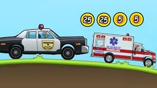 Мультфильм про машинки. Катаемся на полицейской машине и скорой помощи. Hill Climb Racing