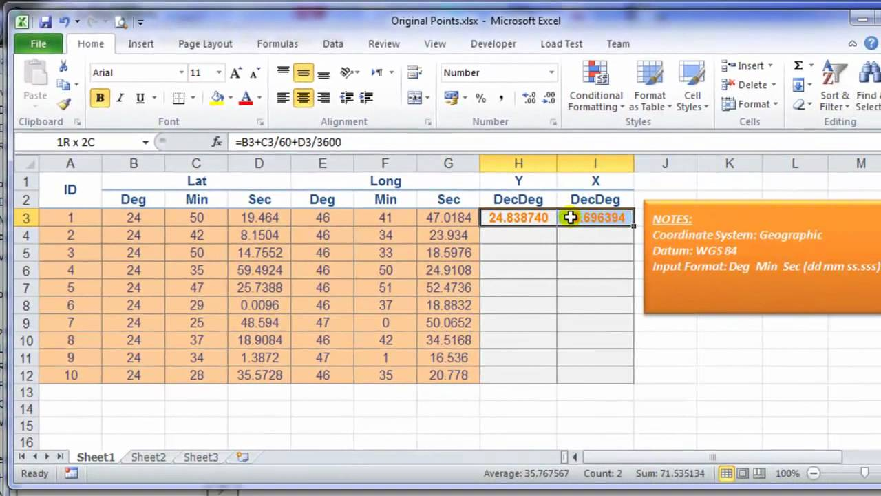 how to get lat and liong in excel