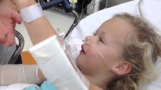 Little 6year old kid comes off anesthesia it