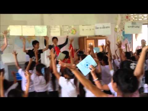 Fun song after a 'Book bag' donation to a rural school in Luang Prabang province through CLI