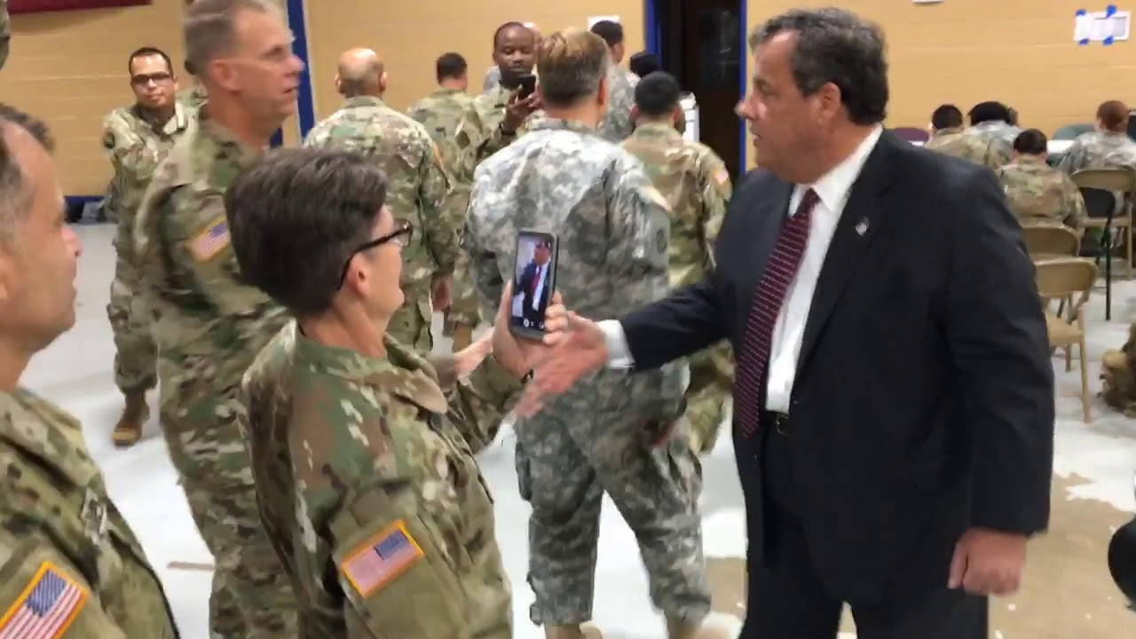 Christie greets national Guard headed to Puerto Rico
