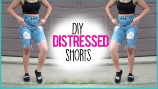 DIY Kylie Jenner Inspired Distressed Shorts| Jasmyn