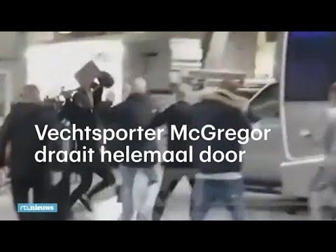 Vechtsporter McGregor draait door en gooit steekwagen tegen bus  - RTL NIEUWS