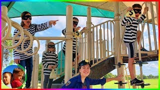 Steal The Treasure, Family Cops and Robbers Tag!  / Steel Kids
