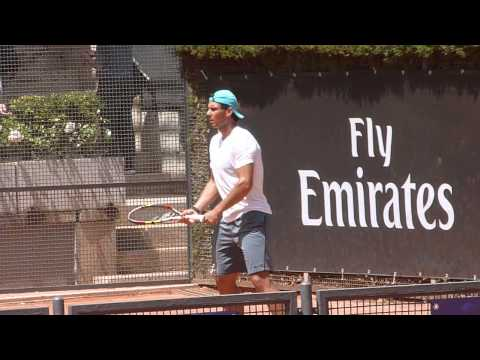 Rafa Nadal - Rome 2014 practice: towelling off, blasting FHs & checking out the wheelchair tennis