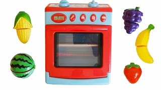 Toy velcro cutting fruit & vegetables cooking with toy oven