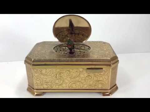 Anita's antique German Automaton bird music box with key