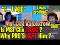Is MSF Clix TOXIC? Or Being BULLIED? MSF Clix VS TSM ZexRow - The Whole Story, WHY PRO