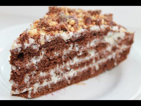 Шоколадный торт.Шоколадный торт на кефире с орехами.Очень вкусный и сочный. Простой рецепт.