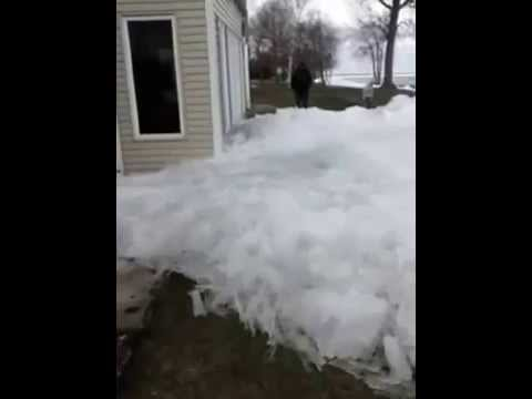 Nibiru? Ice Tsunami..Glacier like ice moving across Mille Lacs damaging houses Minnesota