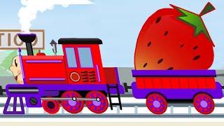 Train Cartoon - Fruits Collection - Trains Vehicles - Kids Railway