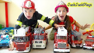 Pretend Play with Police and Firefighter Costumes and Trucks - Robber Jack Jack Skit