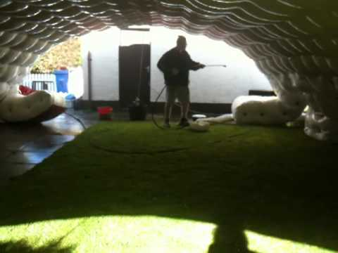 Peter & Christian Johnston cleaning the Inflatable Cinema