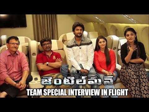 Gentleman team Special interview in Flight | Nani | Surabhi | Niveda Thomas - idlebrain.com
