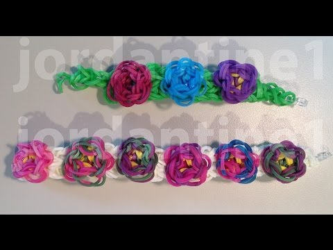 New Flower Sculpture Bracelet - Rainbow Loom - One or Two Looms - Advanced