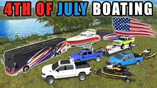 4TH OF JULY CAMPING & BOATING ON THE LAKE W/ USA RV | MULTIPLAYER | FARMING SIMULATOR 2017