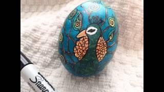 Pysanka Peacock Egg in Process