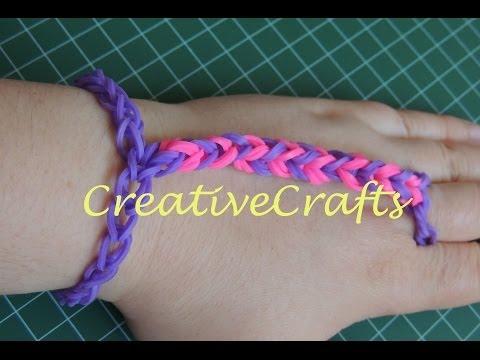 Como hacer una pulsera pasamanos de gomitas sin telar. Rainbow Loom  Bracelet.