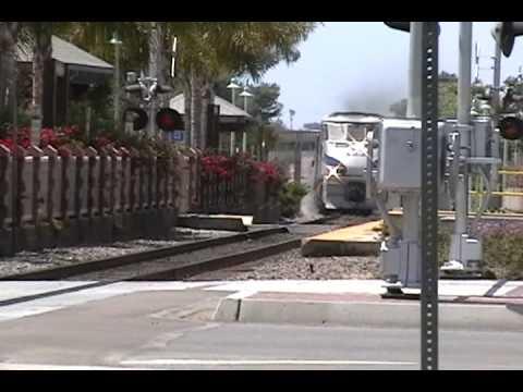 Southbound Amtrak Pacific Surfliner BLASTS Through Carlsbad Village at 90 MPH!!