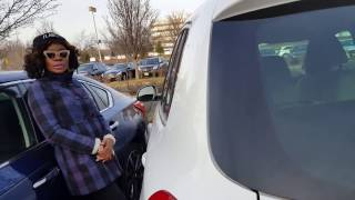 Crazy lady in parking lot doesn't park right