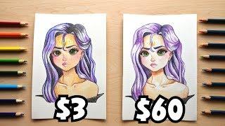 ? $3 vs $60 WATERCOLOR PENCILS || Cheap vs. Expensive! ?