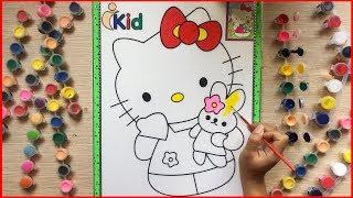 Đồ chơi trẻ em TÔ MÀU NƯỚC MÈO HELLO KITTY & GẤU BÔNG - Paint Kitty with watercolor (Chim Xinh)