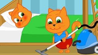 Familia de Gatos - Limpiando la Casa Dibujos animados para niños