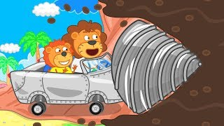 Lion Family Journey to the Center of the Earth Cartoon for Kids