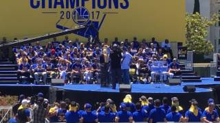 Joe Lacob and Peter Guber speak at the Warriors parade