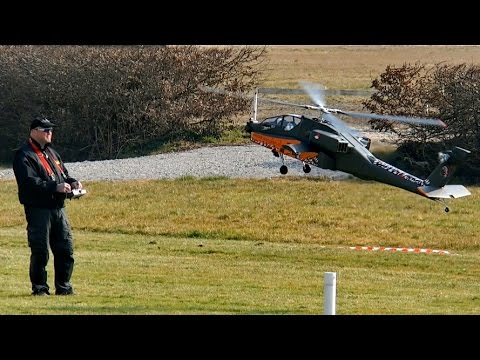 Giant RC Apache Longbow AH-64 D Turbine Model Helicopter Rotor Live 2015 *1080p50fpsHD*