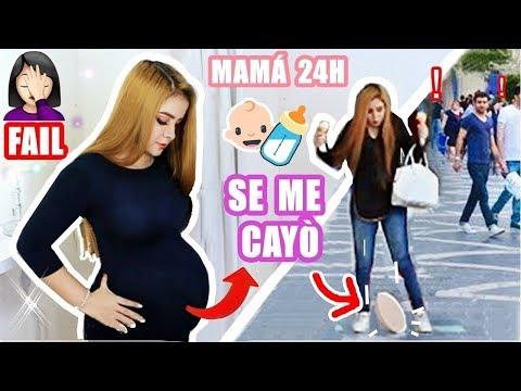 24 Horas siendo Mamá Embarazada - Se cae la barriga en público   Criss Huera