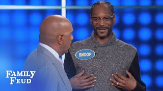 SNOOP'S answer goes UP IN SMOKE!   Celebrity Family Feud   OUTTAKE