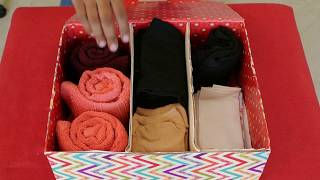 DIY Socks | Baby clothes | Innerwear | Handkerchief | Hand towel Organizer (How to reuse boxes)