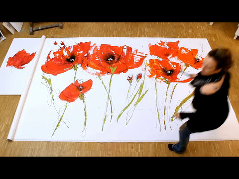 Abstract floral acrylic Painting demo XL - Abstrakte florale Malerei XL -zAcheR-fineT