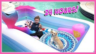 24 HOUR CHALLENGE OVERNIGHT IN MY POOL | Kayla Davis
