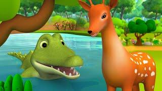 Greedy Crocodile and Deer 3D Animated Hindi Moral Story - लालची मगरमच्छ और हिरण हिन्दी कहानी Tales