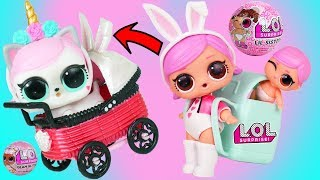 LOL Surprise Doll Hops and Lil Sister get New Custom Baby Stroller Series 4 with magical Unicorn