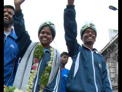 malavath poorna and anand kumar grand welcome & youngest girl to scale Mt  Everest