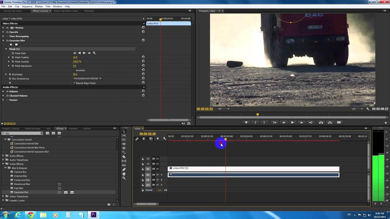 how to blur end of clip in adobe premiere pro