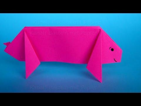 Origami Schwein falten. DIY Origami Tiere basteln mit Papier für Silvester: Glücksbringer machen
