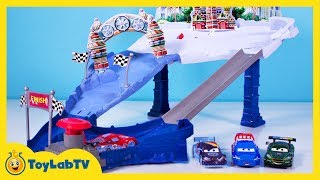 Disney Cars Toys Snowdrift Spinout Track Set Ice Racers Lightning McQueen Max Schnell Launcher Movie