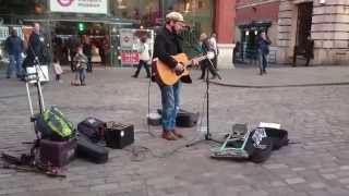 Keane, Somewhere Only We Know, cover by Rob Falsini - busking in the streets of London, UK