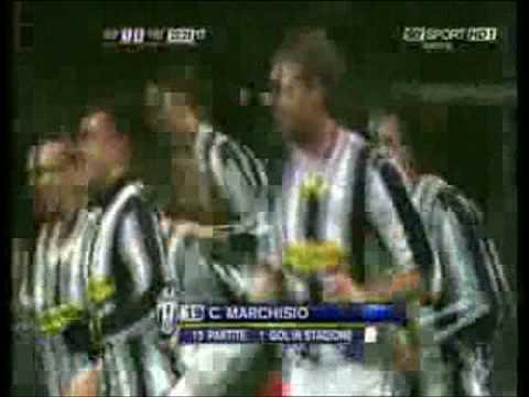 Juventus-Fiorentina 1-0 Goal di Marchisio 2009/01/24