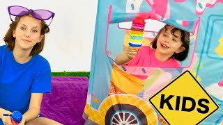 Pretend Play Ice Cream Truck and colorful sand with Sign Post Kids!